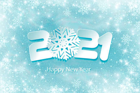 Happy New Year 2021. Numbers 2, 1, 21 and snowflake cut from paper for holiday card, invitation, calendar poster, banner. Vector Illustration. snow falls. Frost effect. Ilustracja