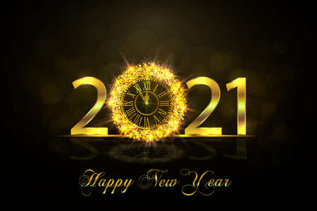 Happy New Year 2021. Background with golden sparkling texture. Gold Numbers, 1, 2, 21 with golden clock .. Vector Illustration for holiday greeting card, invitation, calendar poster banner