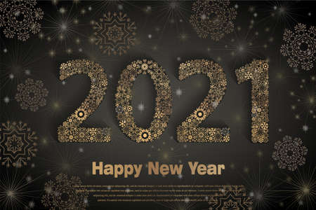 Happy New Year 2021. Background with golden sparkling texture snowflake. Patina Gold Numbers, 2, 0, 1. Vector Illustration for holiday greeting card, calendar with snowflakes