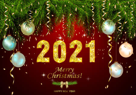 Happy New Year 2021 background with golden sparkling texture. Gold numbers 1, 2, 0, 21. Postcard with silver, pearly Christmas tree toys. Vector Illustration for holiday greeting card. Ilustracja