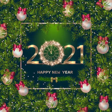 Happy New Year 2021 background with golden sparkling texture. Gold numbers 1, 2, 21. Postcard with silver, pearly Christmas tree toys. Vector Illustration for holiday greeting card