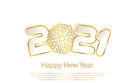 Happy New Year 2021 background with paper cuttings. Gold numbers 1, 2, 21 and snowflake cut from paper for holiday greeting card, invitation, calendar. Vector Illustration. Golden sparkling texture