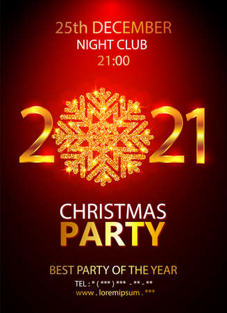 Holiday Christmas club poster. Party 2021 New Year design banner. Vector gold glitter luxury snowflake with lights effects.