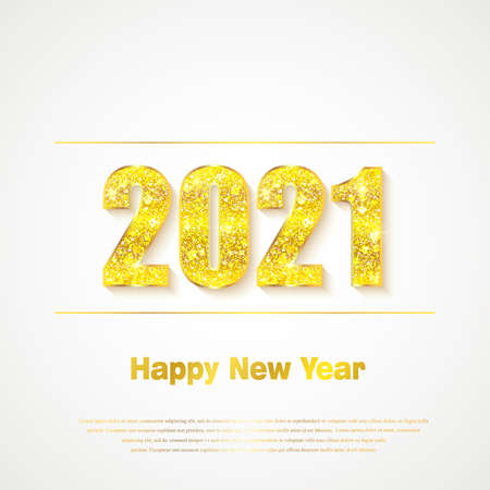 Happy New Year 2021. Background with golden sparkling texture. Gold Numbers 20, 2, 0, 01. Light effect. Vector Illustration Ilustracja