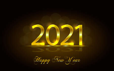 Happy New Year 2021. Background with golden sparkling texture. Gold Numbers 20, 2, 0, 1, 01. Light effect. Vector Illustration for holiday greeting card, invitation, calendar poster banner