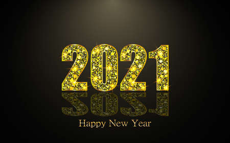 Happy New Year 2021. Background with golden sparkling texture. Gold Numbers 20, 2, 0, 01. Light effect. Vector Illustration Zdjęcie Seryjne