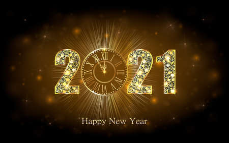 Happy New Year 2021. Background with golden sparkling texture. Gold Numbers, 1, 2, 21 with golden clock .. Vector Illustration for holiday greeting card, invitation, calendar poster banner Ilustracja