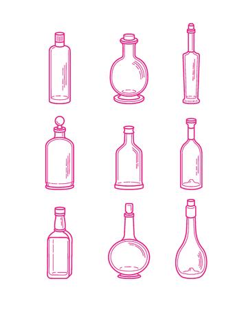 ajenjo: Alcohol botellas de champán iconos - vodka brandy de la cerveza vino whisky tequila coñac licor martini vermú gin ron absenta puerto sambuca sidra. Vectores