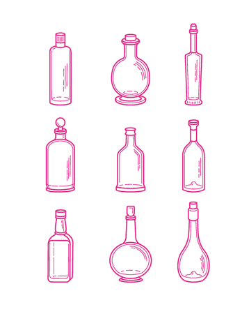 brandy: Alcohol bottles icons - vodka champagne wine whiskey beer brandy tequila cognac liquor martini vermouth gin rum absinthe sambuca cider port. Illustration