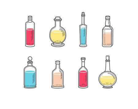 ajenjo: Alcohol botellas de champ�n iconos - vodka brandy de la cerveza vino whisky tequila co�ac licor martini verm� gin ron absenta puerto sambuca sidra. Vectores