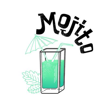 Vector illustration of eight popular alcoholic cocktails: Bloody Mary, Tequila Sunrise, Mojito, Cosmopolitan, Pina Colada, Caipirinha, Mai Tai, Margarita