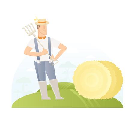 flat vector illustration. Abstract man worker character Illustration