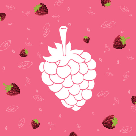 raspberry pink: vector isolated illustration. white silhouette of raspberry on background pink pattern Illustration