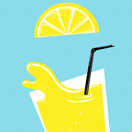 limon: fresh limon juice with slice . vector illustration on a blue background