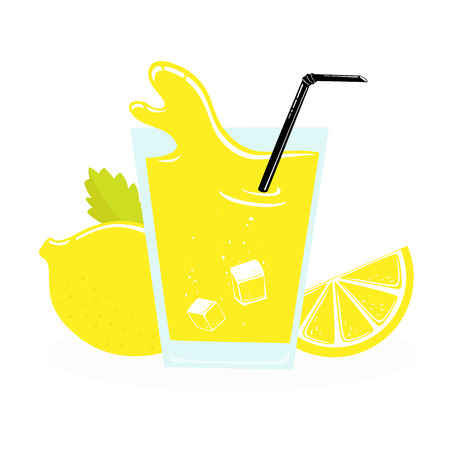 limon: fresh limon juice, slice with leaves. vector illustration isolated