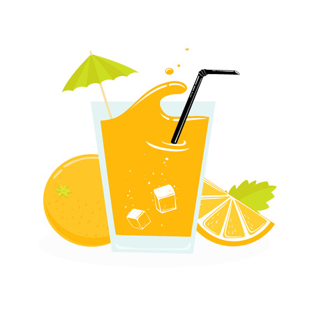 orange juice: fresh orange juice, slice with leaves. vector illustration isolated
