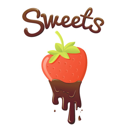 vector isolated illustration. sweet strawberry in chocolate