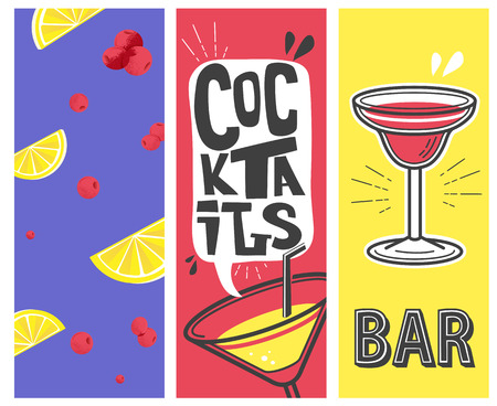 beach party: cocktail beach party. vector illustration alcohol banners set.