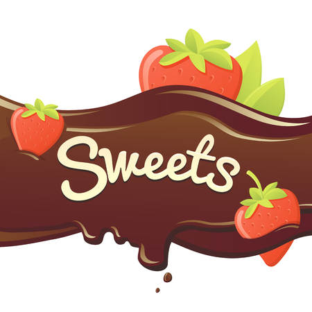 the inscription: sweet strawberry in chocolate. vector isolated illustration. chocolate in the form of heart with strawberry