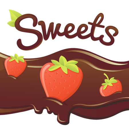 dipped: sweet strawberry in chocolate. vector isolated illustration. chocolate in the form of heart with strawberry