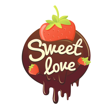 sweet strawberry in chocolate. vector isolated illustration. chocolate in the form of heart with strawberry
