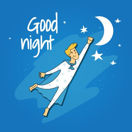 good night. vector illustration of the flying boy Illustration