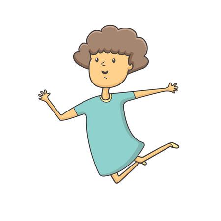 vector illustration Cute girl jumping i