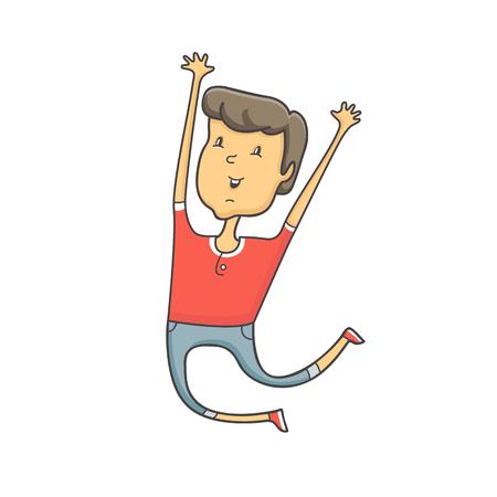 surprisingly: vector illustration Cute boy jump