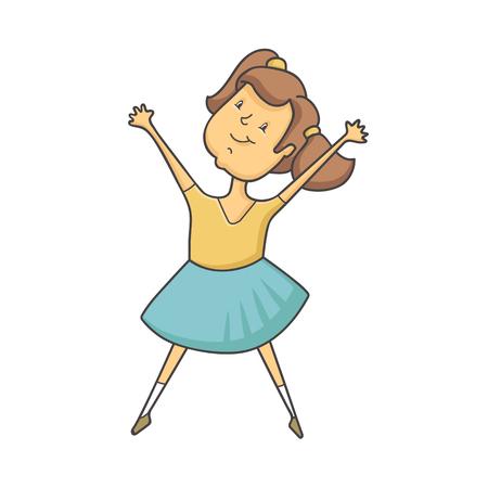 surprisingly: vector illustration Cute girl jumping