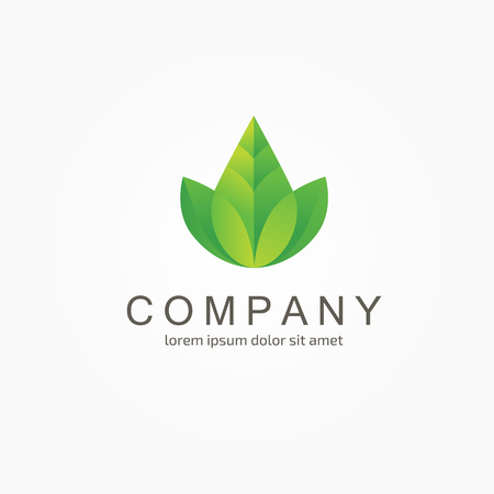 green leaves vector logo