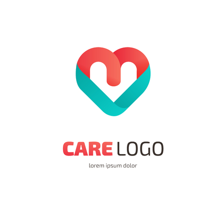 compassionate: Illustration design of heart logotype flat simple colorful Illustration