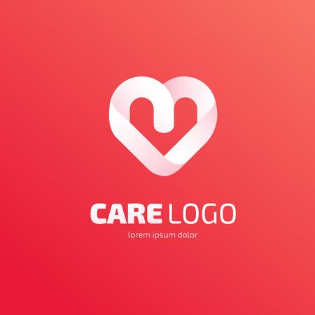 voluntary: Illustration design of heart logotype flat simple colorful Illustration