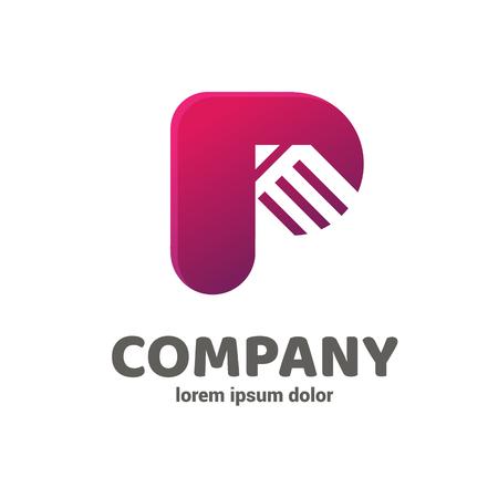 Illustration design of business logotype abstract art letter p simple sign Ilustração