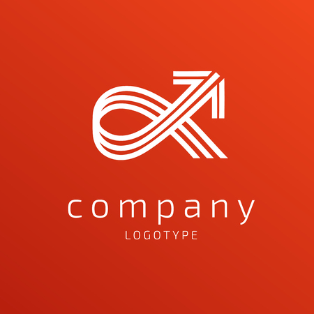 Illustration design of business logotype progress arrow flat simple sign.