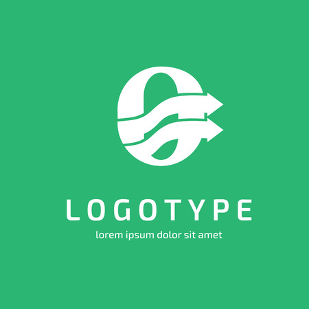 Illustration design of business logotype progress arrow and letter O flat simple sign