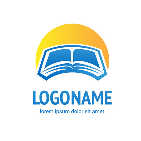Illustration design of business logotype education isolated on plain background. Vectores