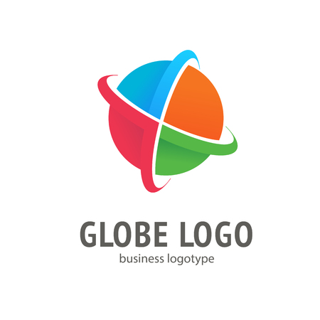Logo design globe vector template isolated on white Illustration
