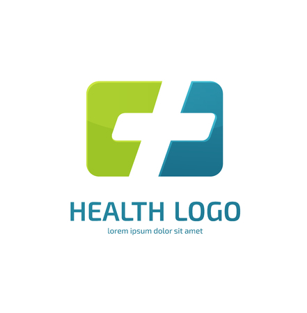 Illustration design of logo type cross health flat symbol colorful
