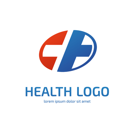 Illustration design of logotype cross health flat symbol colorfull
