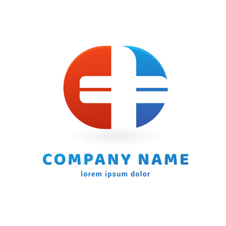 Illustration design of logo type cross health flat symbol in red, blue and white colors Illustration
