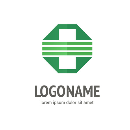 Illustration design of logotype cross health flat symbol colorfull 免版税图像 - 98265829