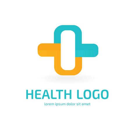 Illustration design of logotype cross health symbol colorful