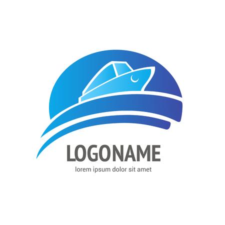 Vector logo template. Illustration design of logotype business Ocean Ship. Vector Sea boat web icon.