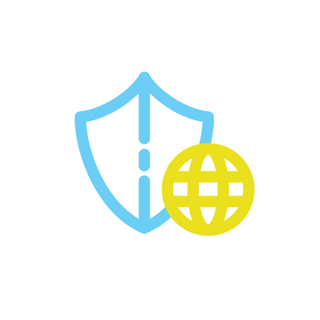 Illustration design of business shield and Earth in blue and yellow Illustration