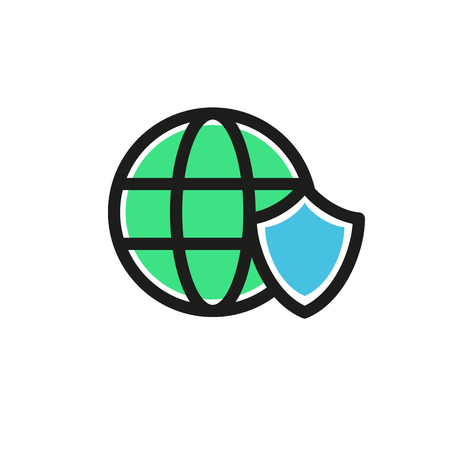 Illustration design of business shield and Earth logo icon.