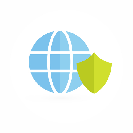 Business shield and earth design icon. Illustration