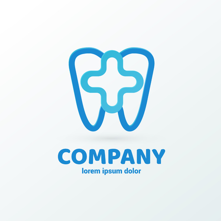 Illustration design of business dental clinic flat symbol with Tooth and cross web icon