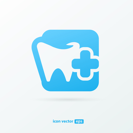 Illustration design of logotype business dental clinic flat symbol. Tooth and cross web icon