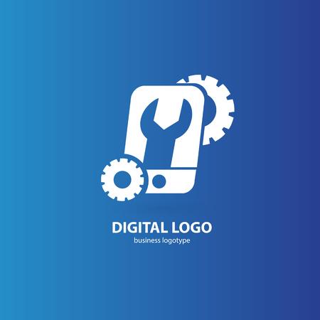 Illustratieontwerp van logotype telefoonreparatie. Vector smartphone web pictogram.