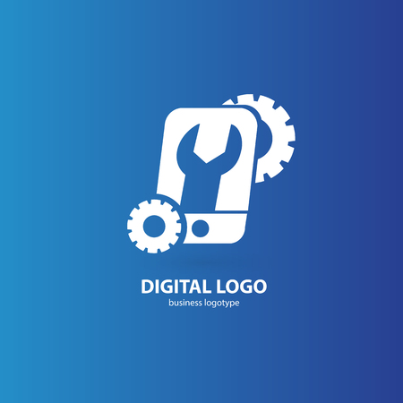 Illustration design of logotype phone repair. Vector smartphone web icon. Çizim